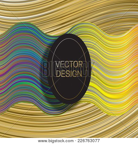 Elliptic Frame On Dynamic Colorful Background. Trendy Holographic Packaging Design Or Cover Template