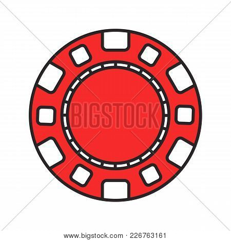 Casino Chip Color Icon. Gambling Token. Casino. Isolated Vector Illustration