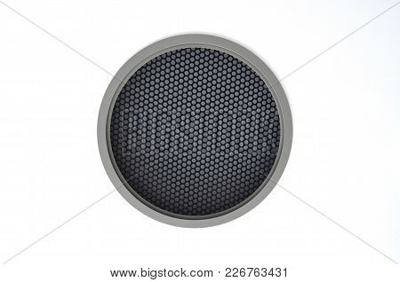 Circle Black Loudspeaker Mask For Creative Background On On White Ceiling