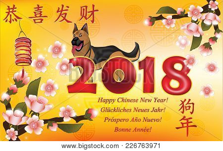 Happy Chinese New Year 2018 Written In Many Languages - Greeting Card Designed For International Com