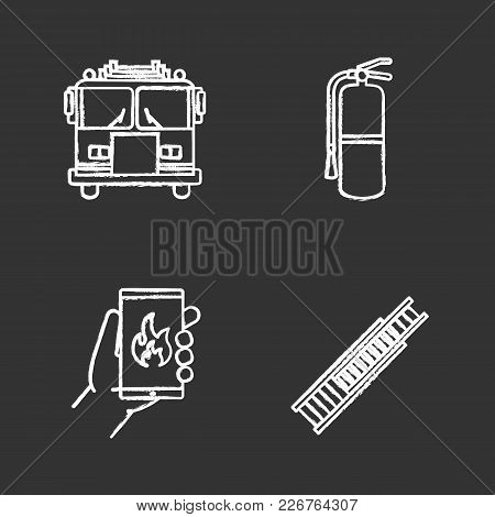 Firefighting Chalk Icons Set. Fire Engine, Double Extension Ladder, Extinguisher, Emergency Call. Is