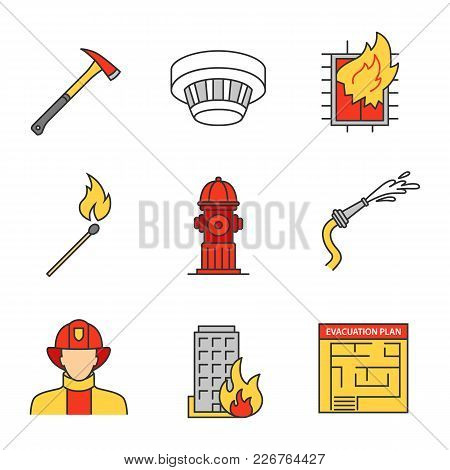 Firefighting Linear Icons Set. Hose, Burning Matchstick, Smoke Detector, Evacuation Plan, Hydrant, A