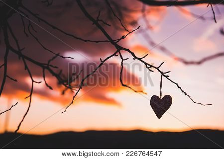 Silhouette, Heart, Sunset Sky, Colorful Scenery, Sign Of Love