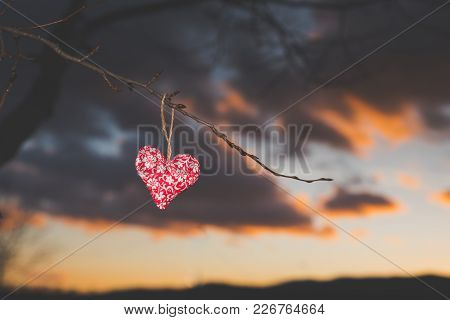 Love Shape Silhouette, Colorful Sunset Sky In Background, Valentine Photo, Edit Space