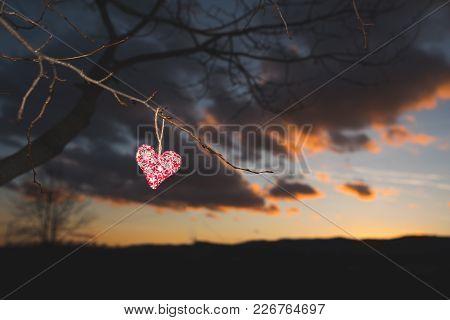 Red Heart, Sunset Nature, Valentine Photo, Love