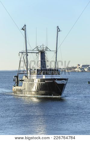 New Bedford, Massachusetts, Usa - February 13, 2018: Commercial Fishing Boat Princess Scarlett, Hail