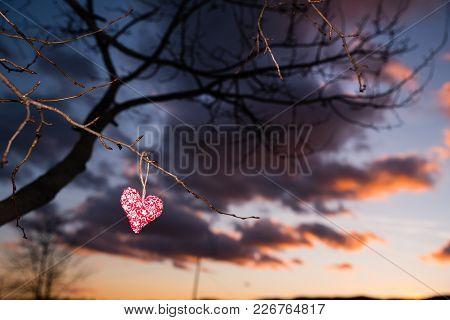 Heart Silhouette, Sunset Sky, Valentine Postcard Or Wallpaper