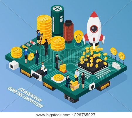 Ico Blockchain Isometric Composition On Blue Background With Cryptocurrency At Computer Hardware, Mi