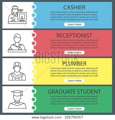 Professions Web Banner Templates Set. Cashier, Receptionist, Plumber, Graduate Student. Website Colo