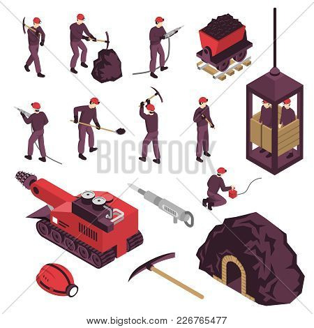 Mining Industry Workers Machinery Surface And Underground  Equipment Isometric Icons Set With Pneuma