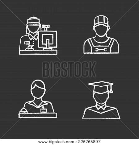Professions Chalk Icons Set. Receptionist, Secretary, Cashier, Pizza Deliveryman, Graduate Student.