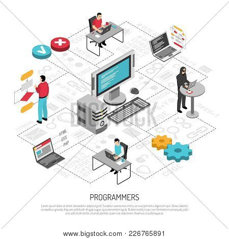 Computer Programmers Coder For Software Systems Applications Developer Work Isometric Background Com