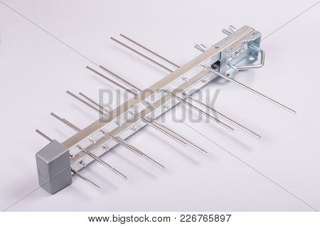 Log Periodic Antenna For Uhf Tv Isolated On The Gray Background