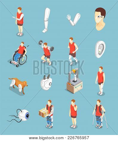 Bionics Technology Isometric Icons Set Of Implants Artificial Organs And People With Prosthesis Afte