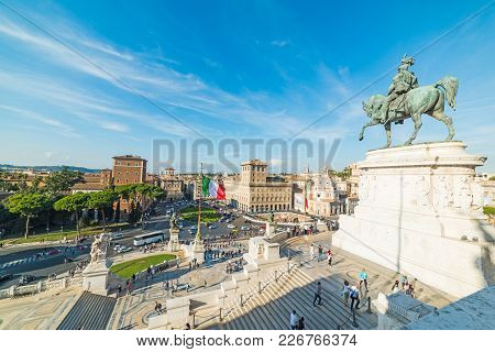 Rome, Italy - October 12, 2017: Altar Of The Fatherland On A Sunny Day