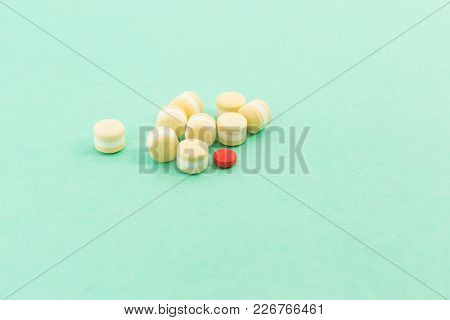 Bunch Of Pills Or Tablets And Out Of Pattern Concept