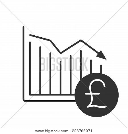 British Pound Falling Glyph Icon. Financial Collapse. Silhouette Symbol. Statistics Diagram With Gbp