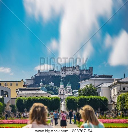 Mirabell Garden And Salzburg Castle In Background