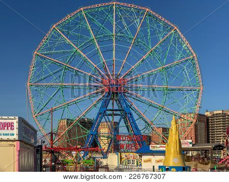 New York City - February 3, 2018: Wonder Wheel Is A Hundred And Fifty Foot Eccentric Wheel Built In