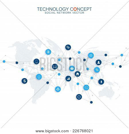 Abstract Business Vector Infographic. Cloud Computing And Global Network Connections Concept Design.