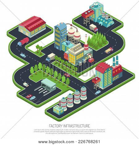 Factory Infrastructure Isometric Composition With Industrial Facilities, Warehouse, Office Buildings