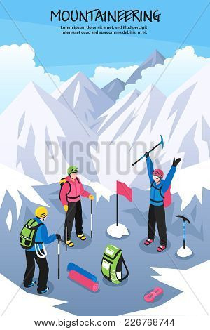 Mountaineering Composition With Editable Text And Group Of Climbers With Equipment Setting Flag On M
