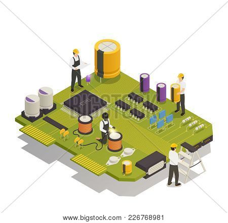 Semiconductor Electronic Components Isometric Composition With 4 Men Assembling Resistors Diodes On
