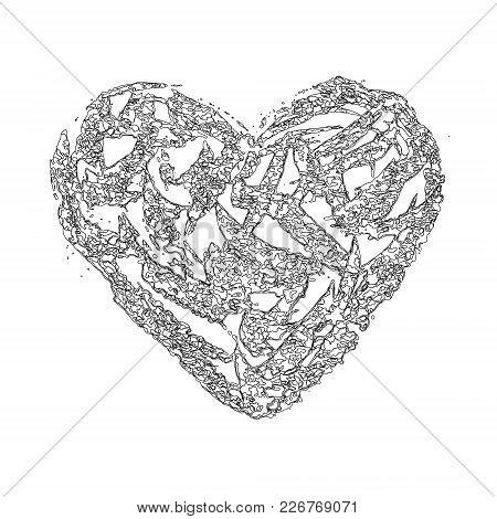 Vector Heart Abstract Fine Contour Lines. Careless Pencil Sketch
