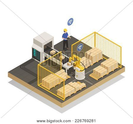 Smart Industry Intelligent Manufacturing Isometric Composition With Robotic Arm And Automated Convey