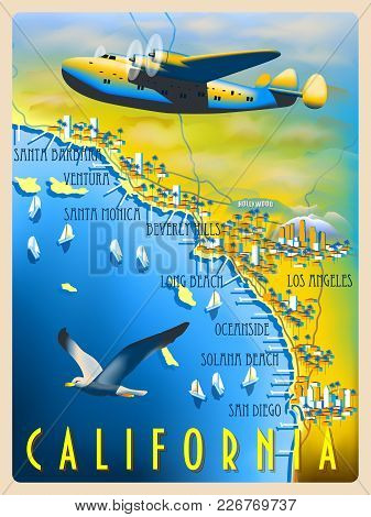 Flight Over The Coast Of California. Retro Poster. Handmade Drawing Vector Illustration