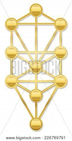 Tree Of Life. Golden Kabbalah Symbol With Ten Sephirots Of The Hebrew Kabbalah - Isolated On White B