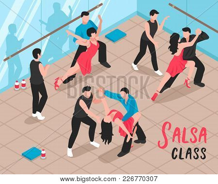Salsa Class Scene With People During Dance Workout In Ballroom With Glass Walls Isometric Vector Ill