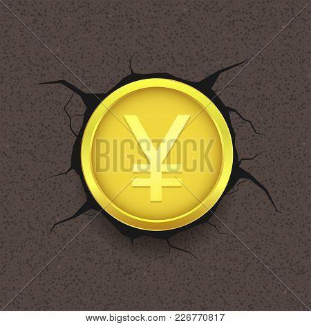 Golden Yen On Cracked Background. Japanese Money Symbol, Vector Illustration