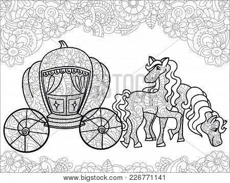 Carriage, Pumpkin And Horses. Transport For The King. Childrens Anti Stress Coloring Book Vector Ill
