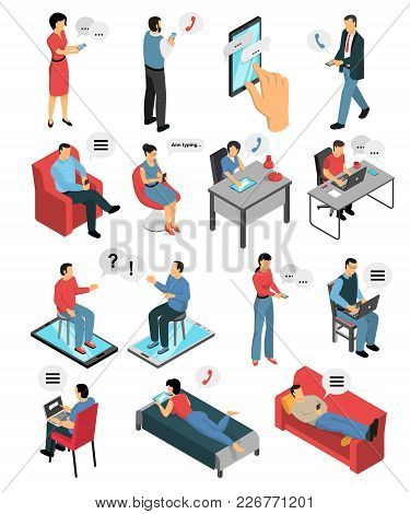 Isometric Icons Set With People During Chatting By Phone, In Messengers And Social Networks Isolated