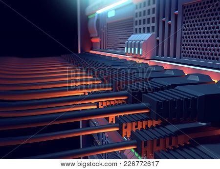 Ethernet Network Cables Connected To Internet Server 3D Illustration