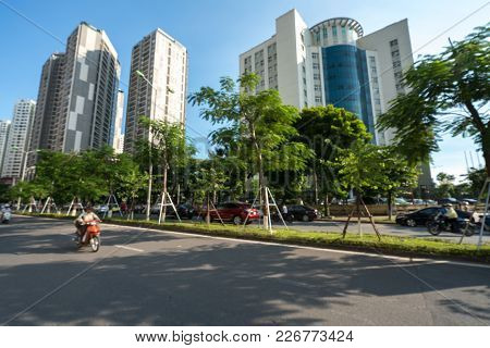 Road And Buildings At Hanoi City. Hoang Dao Thuy Street