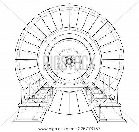 Wire-frame Illustration Of Engine Unit Oil Industry. Created Illustration Of 3d