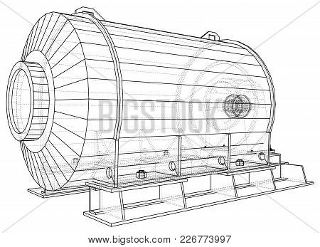 Industrial Engine. Wire-frame. Vector Eps10 Format. Vector Rendering Of 3d.