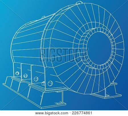 Vector Illustration Of Engine Unit Oil Industry. Created Illustration Of 3d