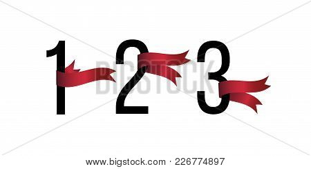 Set Of Number 1, 2, 3 Symbols With Red Ribbons On White Background. Award Ribbon. Design Element For