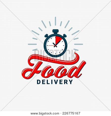 Food Delivery Icon. Timer And Food Delivery Inscription On Light Background. Fast Delivery, Express
