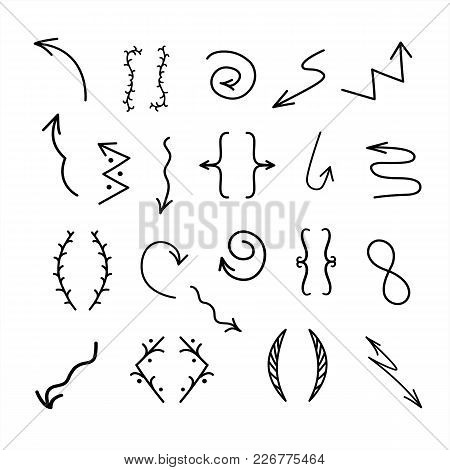 Set Of Handrawn Vector Arrows Set Icon. Hand Drawn Elements For Your Designs.