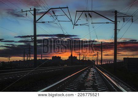Rail Rails Leaving For The City Sunset