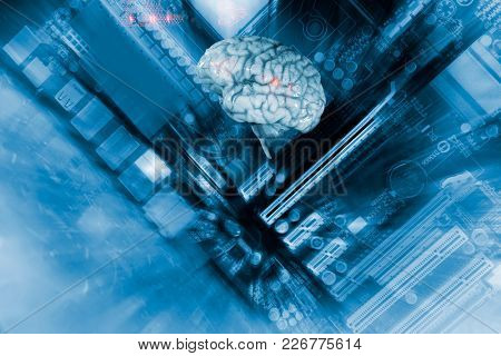artificial intelligence and communication, human brain and computer part