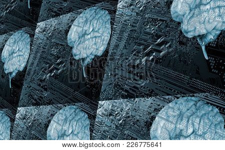 Human brains against computers circuit-board in simulated 3d concept