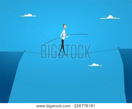 Businessman Balances Walking On The Rope Balancing Over The Abyss. The Concept Of Financial Risks, G