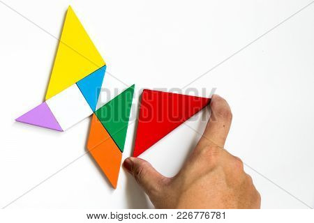 Colorful Wood Tangram Puzzle In Butterfly Shape Wait To Fulfill With Triangle On White Background