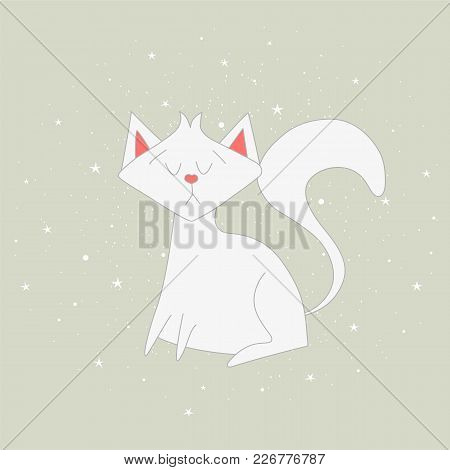 The White Cat Sits On The Grey Background.