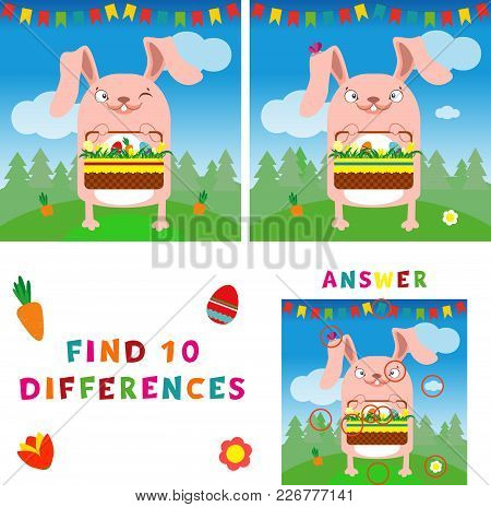 Find Ten Differences Illustration Of Easter Bunny With Eggs. Vector Colorful Educational Game For Ki